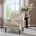 Madison Park Qwen Accent Chairs - Hardwood, Birch, Faux Linen Living Room Chairs - Cream Ivory, Vintage Classic Style Living Room Sofa Furniture