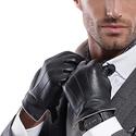 MATSU Luxury Men Winter Warm Lambskin Leather Gloves