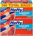 Hefty Slider Freezer Bags, Quart, 140 Count