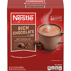 Nestle Hot Chocolate Mix, Hot Cocoa, Rich Chocolate Flavor (Pack of 50)