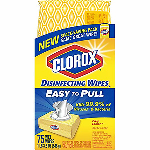 Clorox Disinfecting Wipes, Crisp Lemon - 1 Pack - 75 Wipes (31404)