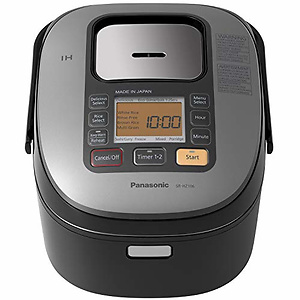 Panasonic 5 Cup (Uncooked) Japanese Rice Cooker with Induction Heating System and Pre-Programmed Cooking Options for Brown Rice, White Rice, and Porridge or Soup - 1.0 Liter - SR-HZ106 (Black)