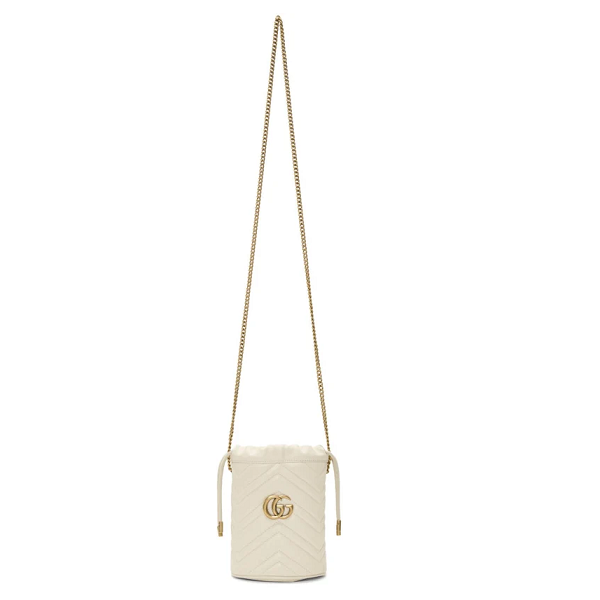 Gucci  White Mini GG Marmont Bucket Bag