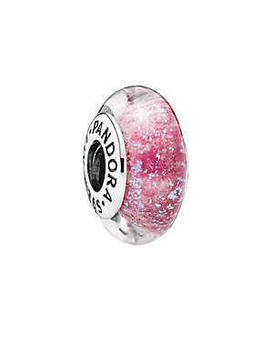 Silver & Pink Murano Glass Charm