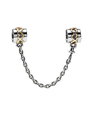 18K Silver Safety Chain Charm