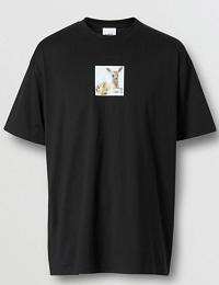 Deer Print Cotton Oversized T-shirt