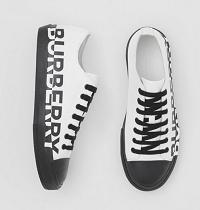 Logo Print Two-tone Cotton Gabardine Sneakers